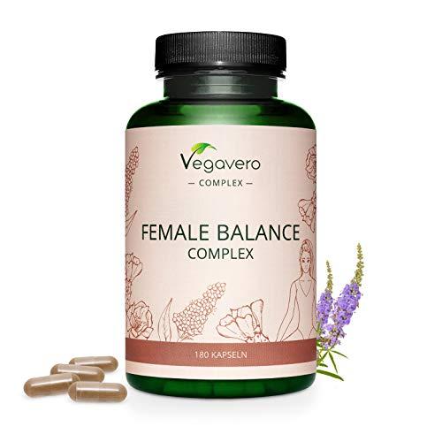 EQUILIBRIO FEMENINO Vegavero® |  Desequilibrio hormonal, amenorrea, síndrome premenstrual |  con Árbol Casto, Alchemilla, Maca Roja, Ácido Fólico, Minerales y Vitaminas |  180 cápsulas |  Vegano