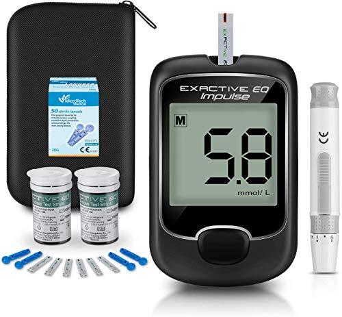 Kit de prueba de diabetes Kit de monitorización de glucosa en sangre con 50 tiras reactivas y 50 lancetas para diabéticos en mg / dL de Exactive EQ Impulse